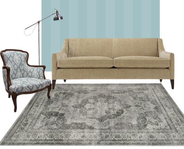 living room rug trad gray