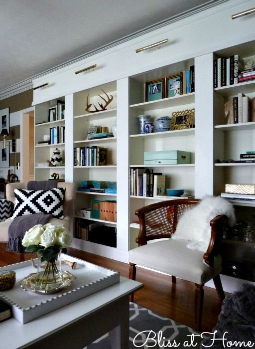 IKEA book cases turned built-ins via Bliss at Home