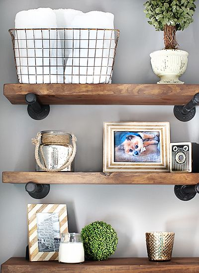 Rustic industrial shelving via 7th House on the Left