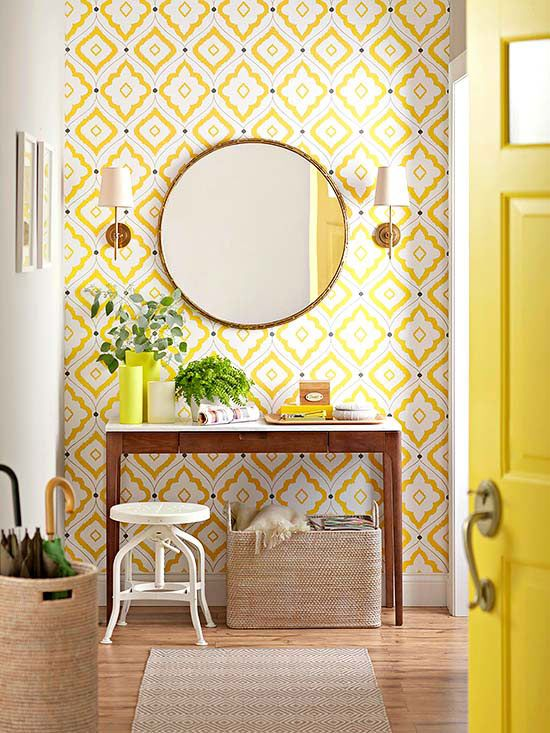 Yellow patterned wallpaper entry via Better Homes and Gardens