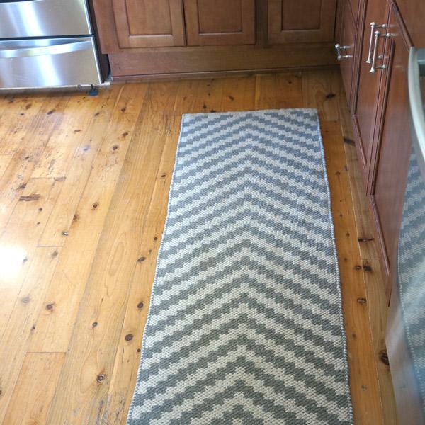 Flat weave rug staying put with big girl rug pad from Rug Pad USA