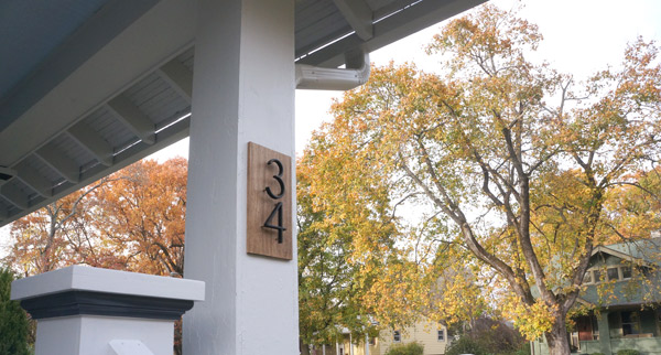 Craftsman bungalow wood backed house number DIY via Year of Serendipity