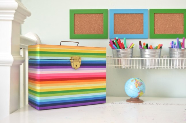 Rainbow Ribbon Box Makeover via Ciburbanity