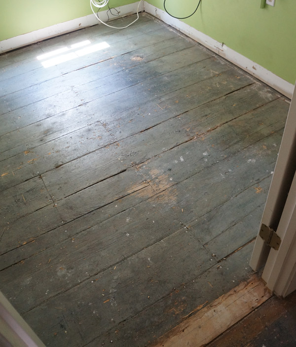 Old pine floors before via Year of Serendipity