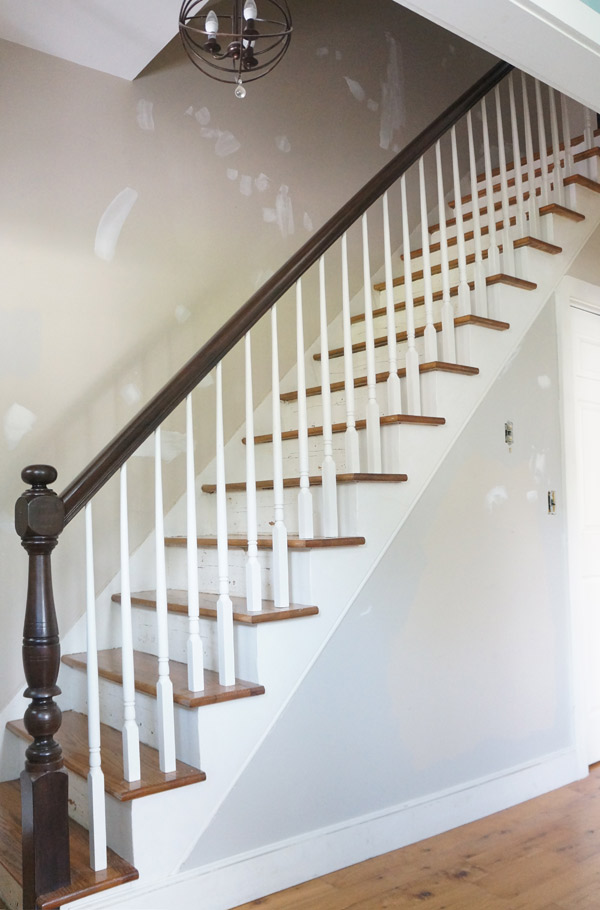 Updated railing, naked stairs- via Year of Serendipity