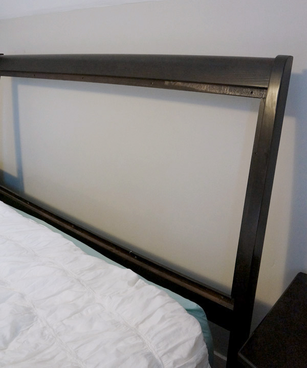 unholsered headboard with panel removed