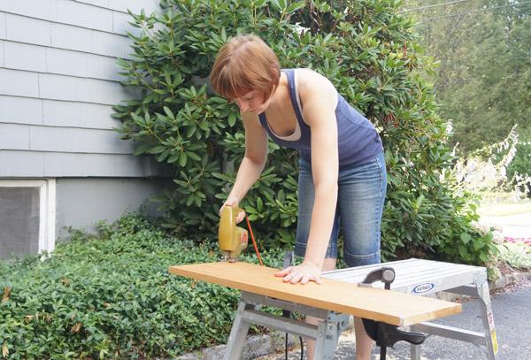 Custom DIY cat perch cutting via Year of Serendipity