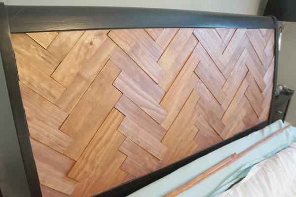 DIY Herringbone Headboard glued via Year of Serendipity