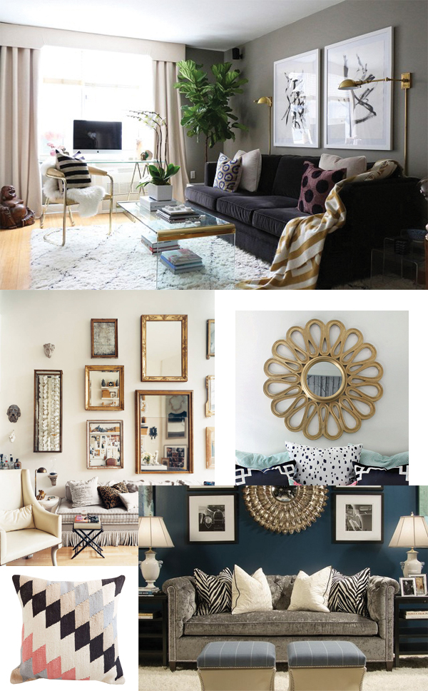 modern funky glam living room inspiration board - via Year of Serendipity