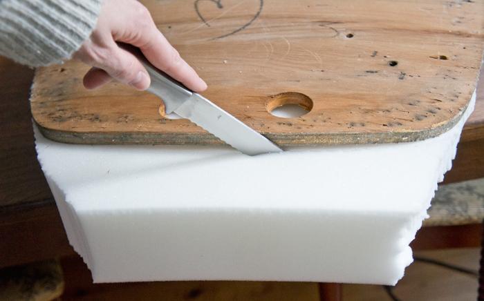 cutting new seat foam