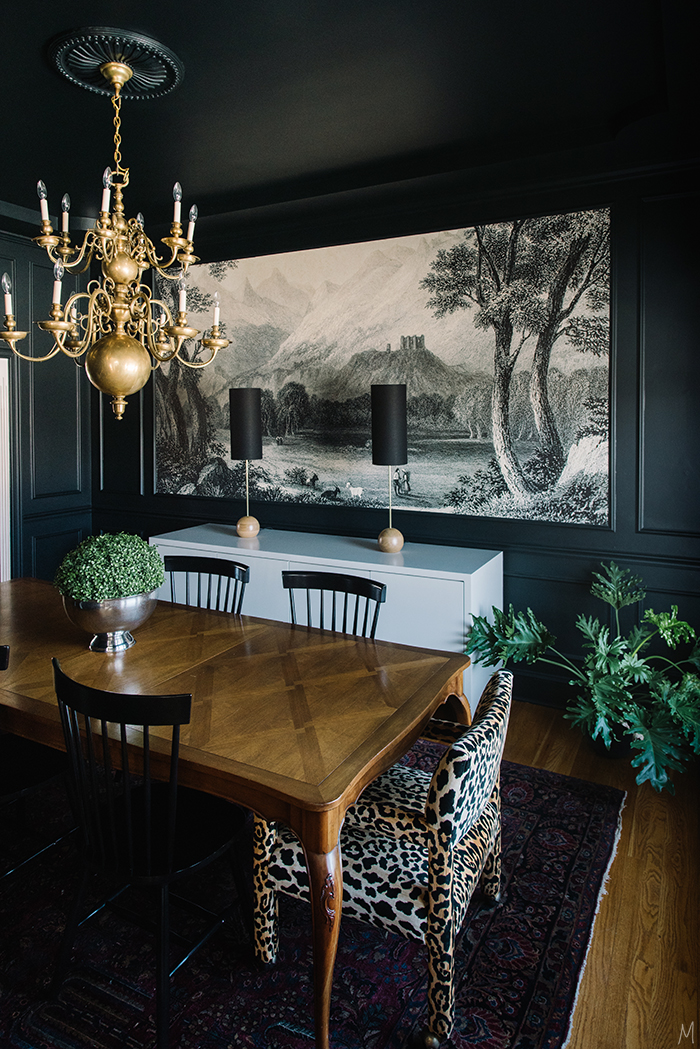 The-Makerista-Dining-Room-Black-Walls-Loom-Decor-2