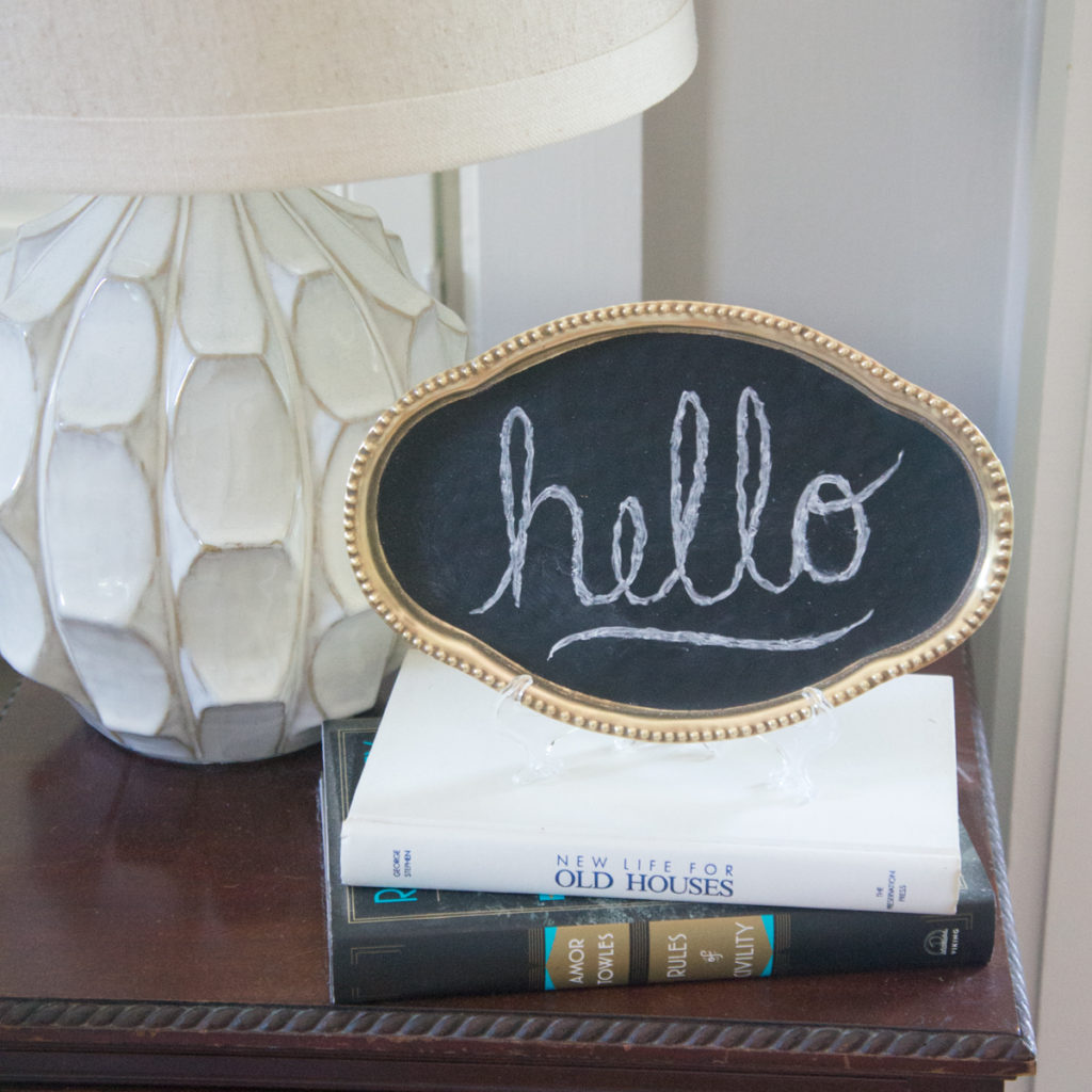 Brass chalkboard tray sign