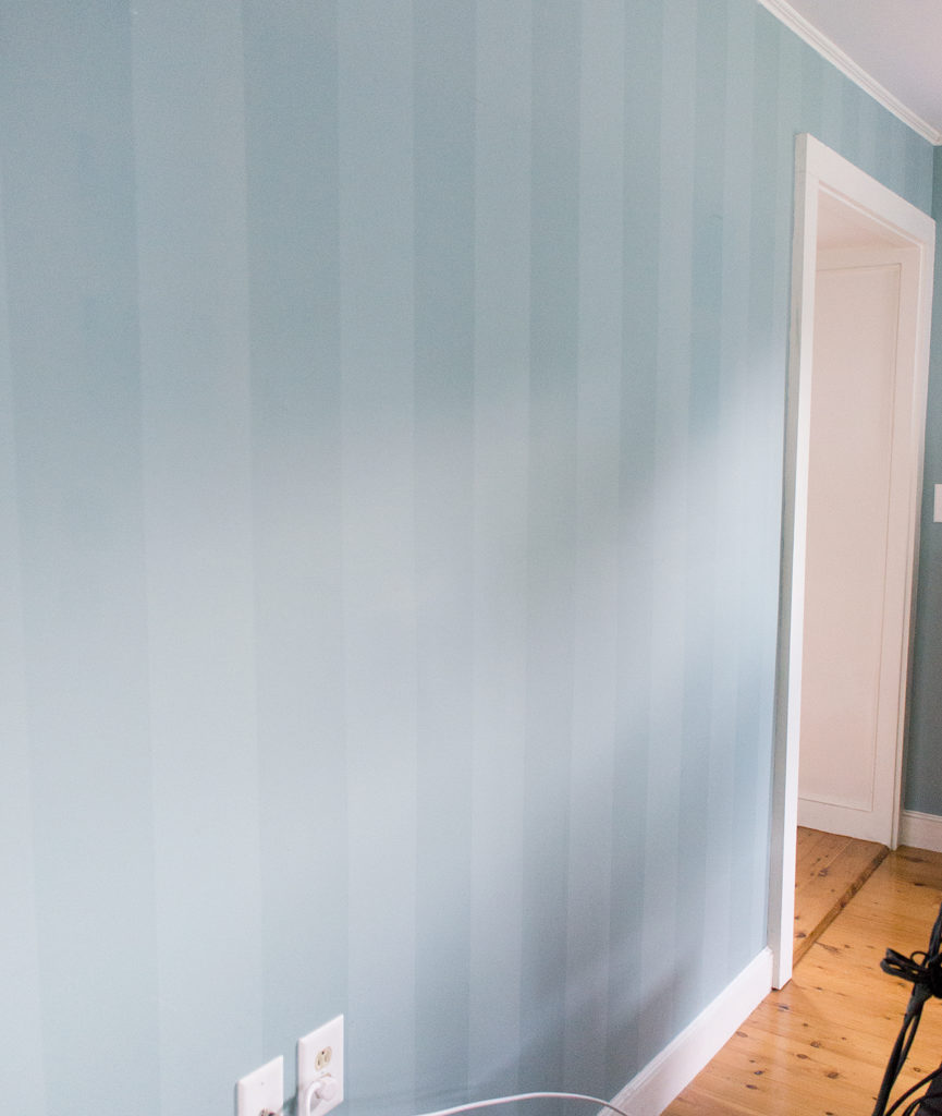 Torquoise striped wall before prep