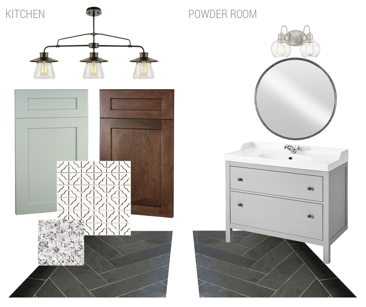 vintage house kitchen and powder room finishes