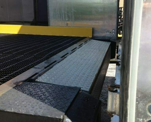 edge of dock leveler from truck view