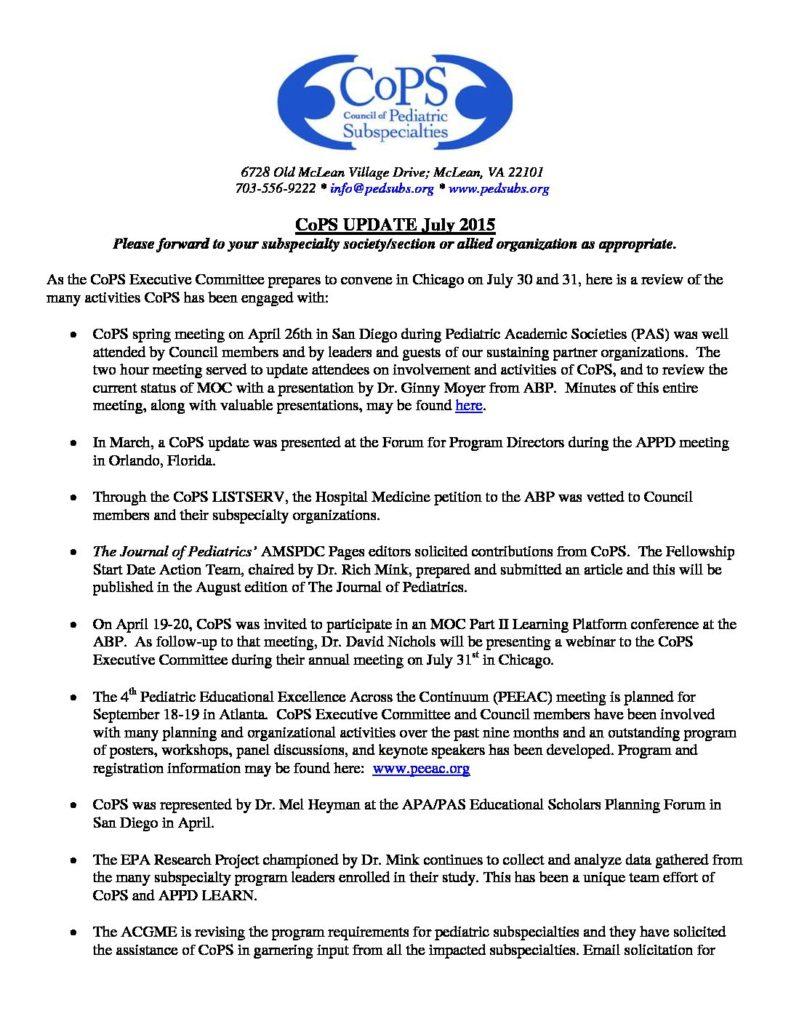 Updates – Council of Pediatric Subspecialties