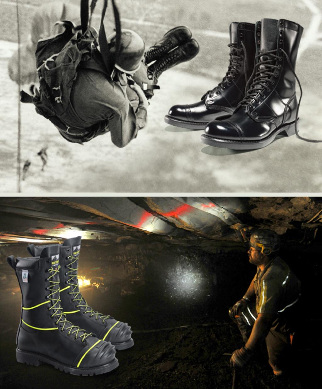 Paratrooper wearing original Corcoran jump boots and a miner wearing Matterhorn metguard boots