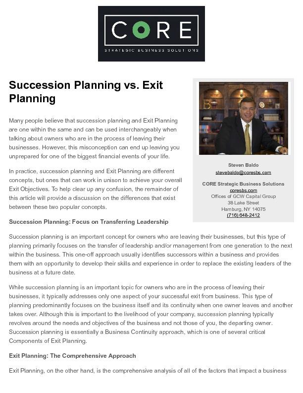 Exitplanning.com   succession planning vs. exit planning   2016 03 25