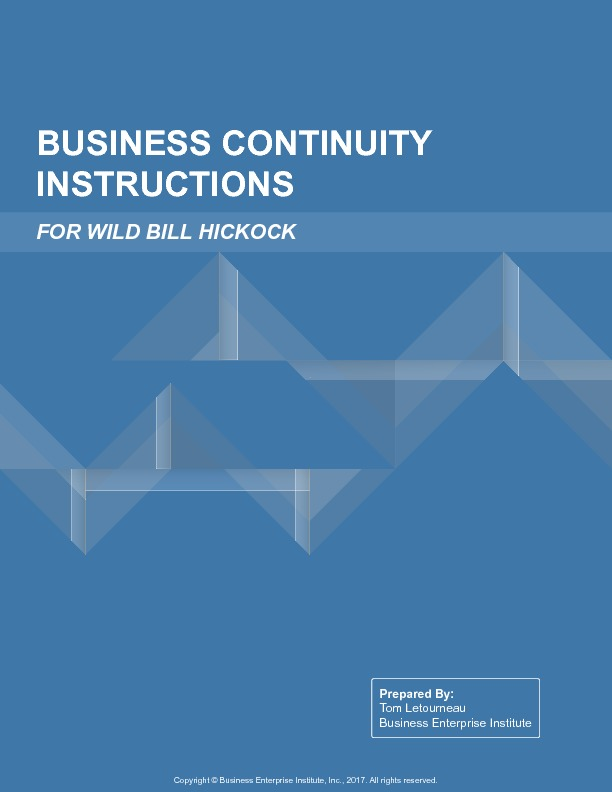 Sample business continuity instructions