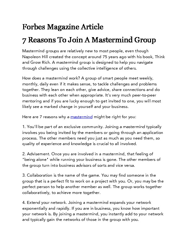 Forbes magazine article 7 reasons to join a mastermind group
