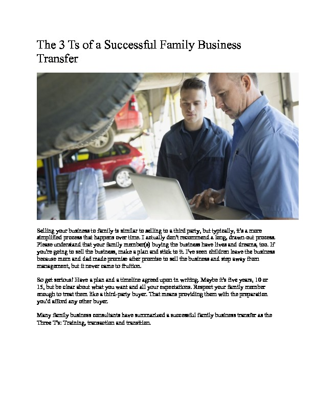 The 3 ts of a successful family business transfer