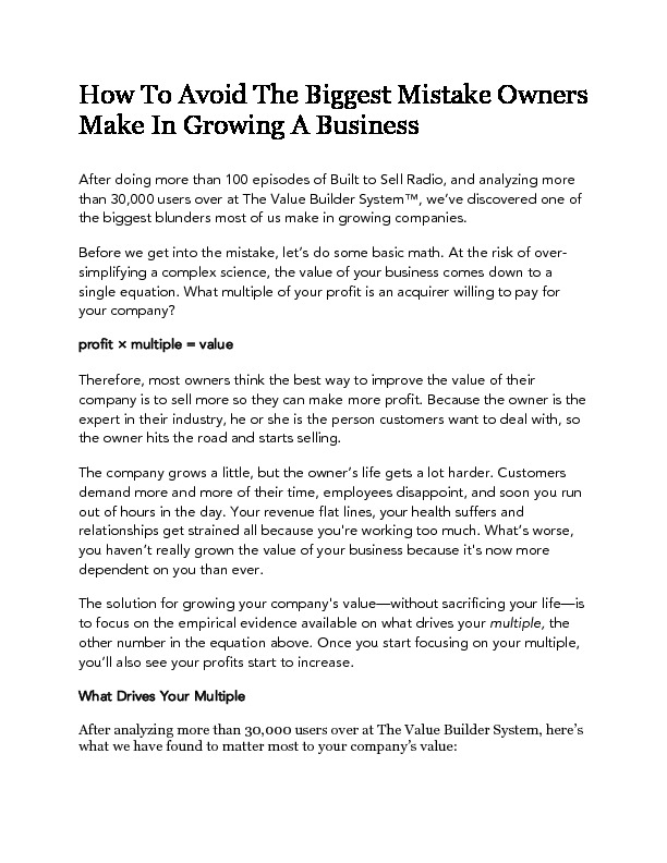 How to avoid the biggest mistake owners make in growing a business