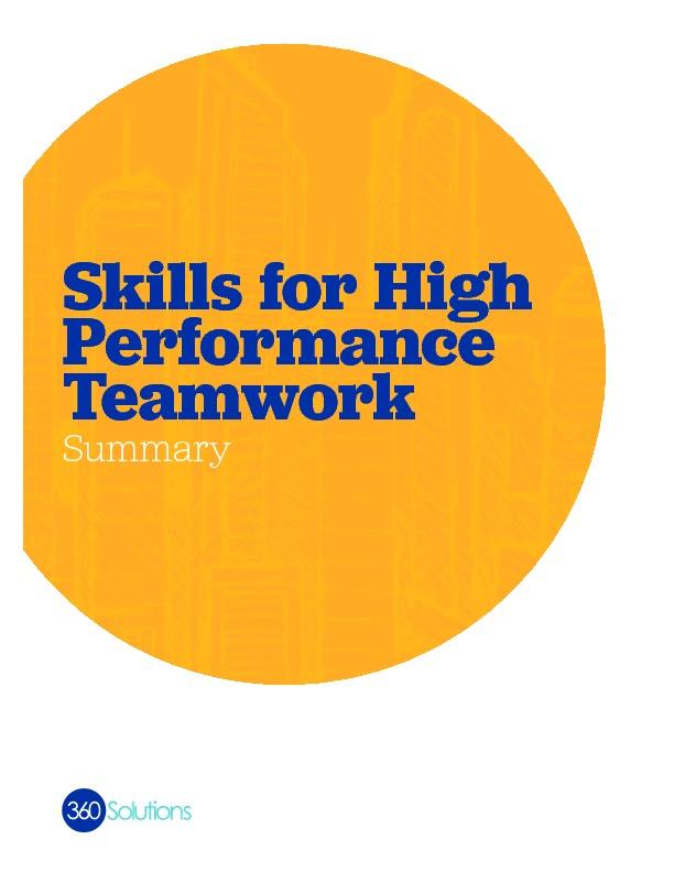 Skills for high performance teamwork onesheet copy summary