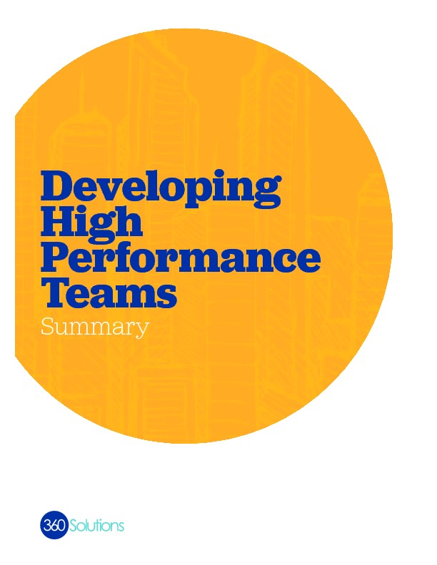 Developing high performance teams summary