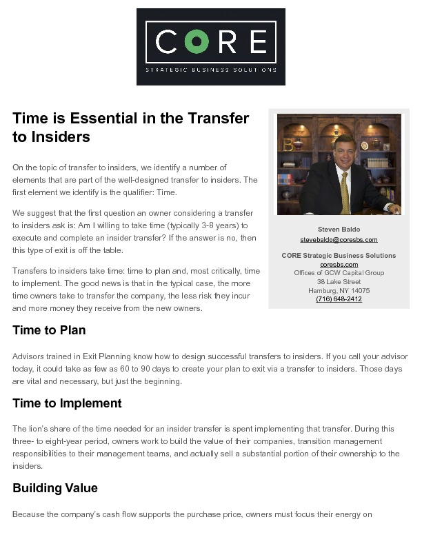 Exit planning   time is essential in the transfer to insiders   2017 02 13