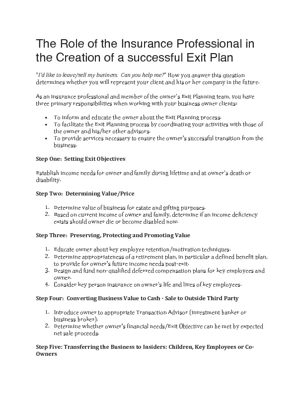 The role of the insurance professional in the creation of a successful exit plan