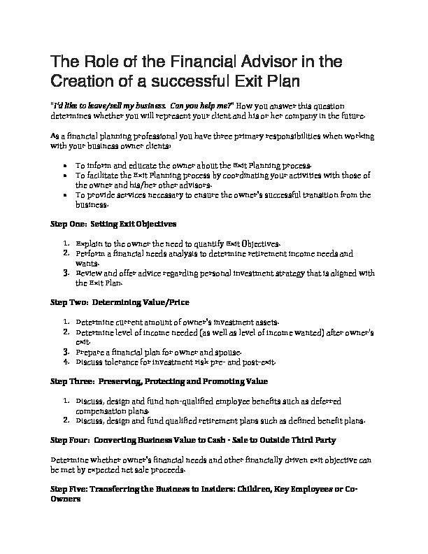 The role of the financial advisor in the creation of a successful exit plan
