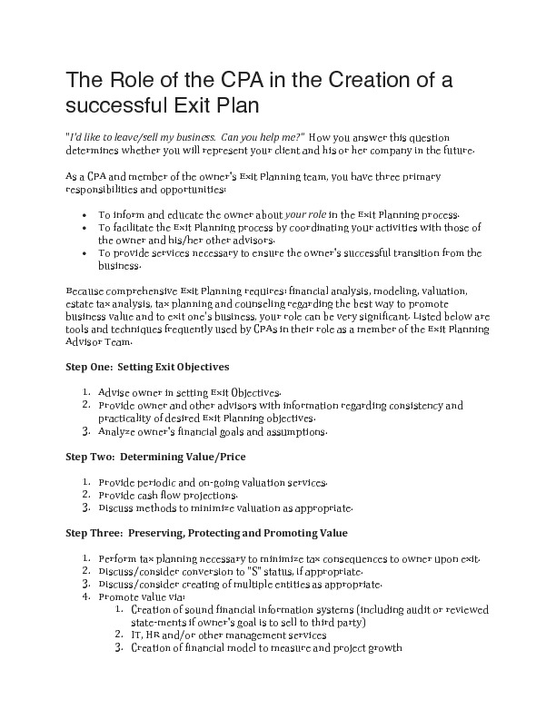 The role of the cpa in the creation of a successful exit plan