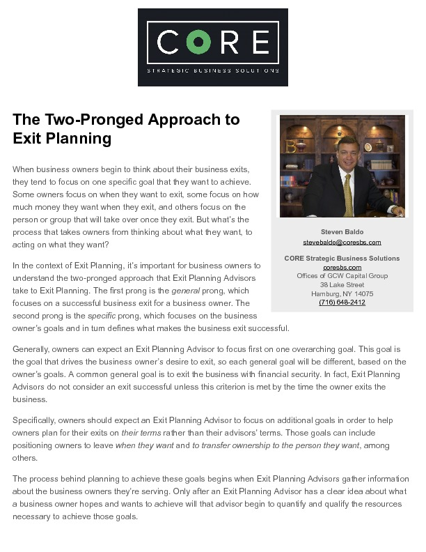 Exit planning   the two pronged approach to exit planning   2018 03 27