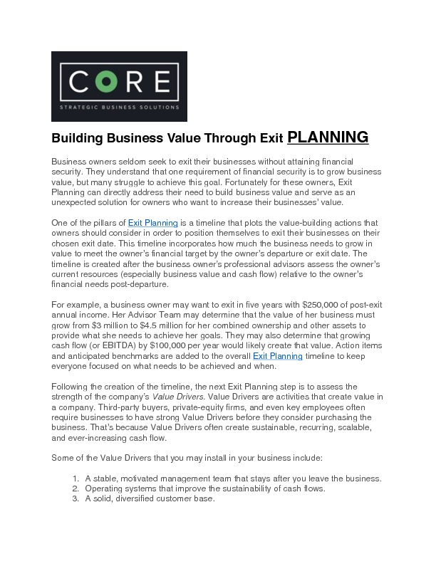 Building business value through exit planning