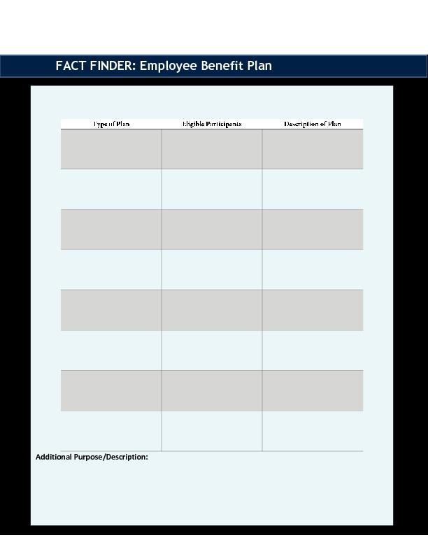 Epic employee benefit plan fact finder