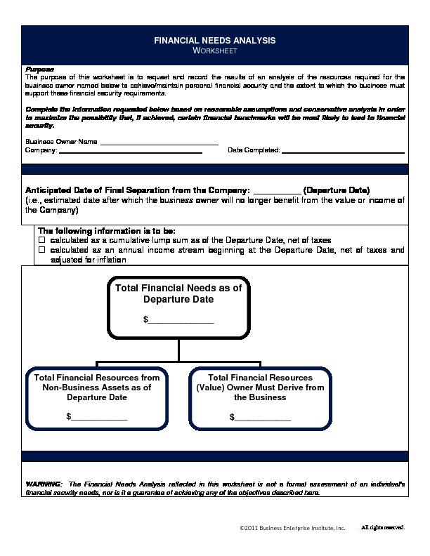 Financial needs worksheet
