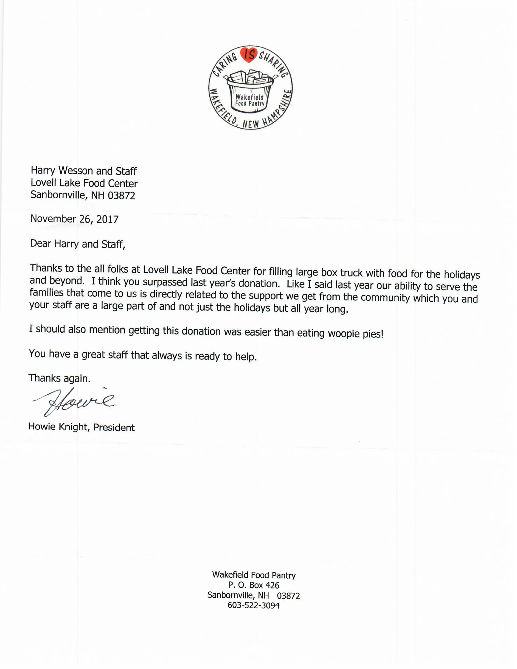 butcher s choice meats food pantry donation letter