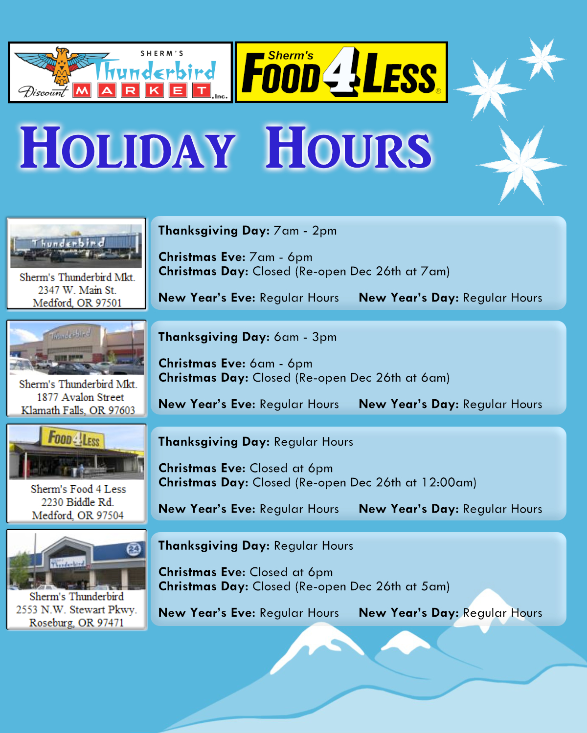 Store Holiday Hours