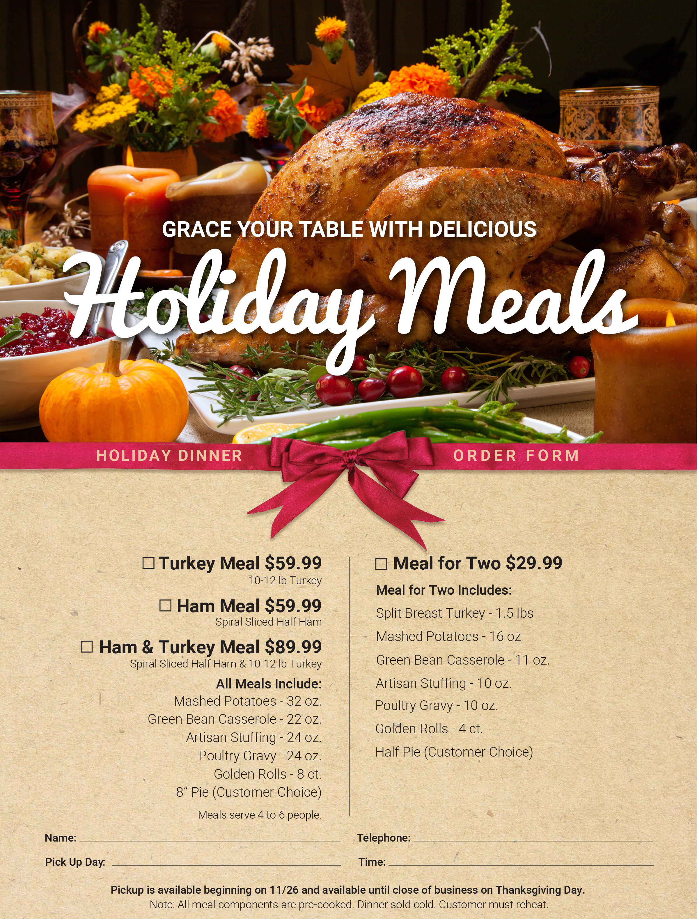 Holiday Ordering Menu