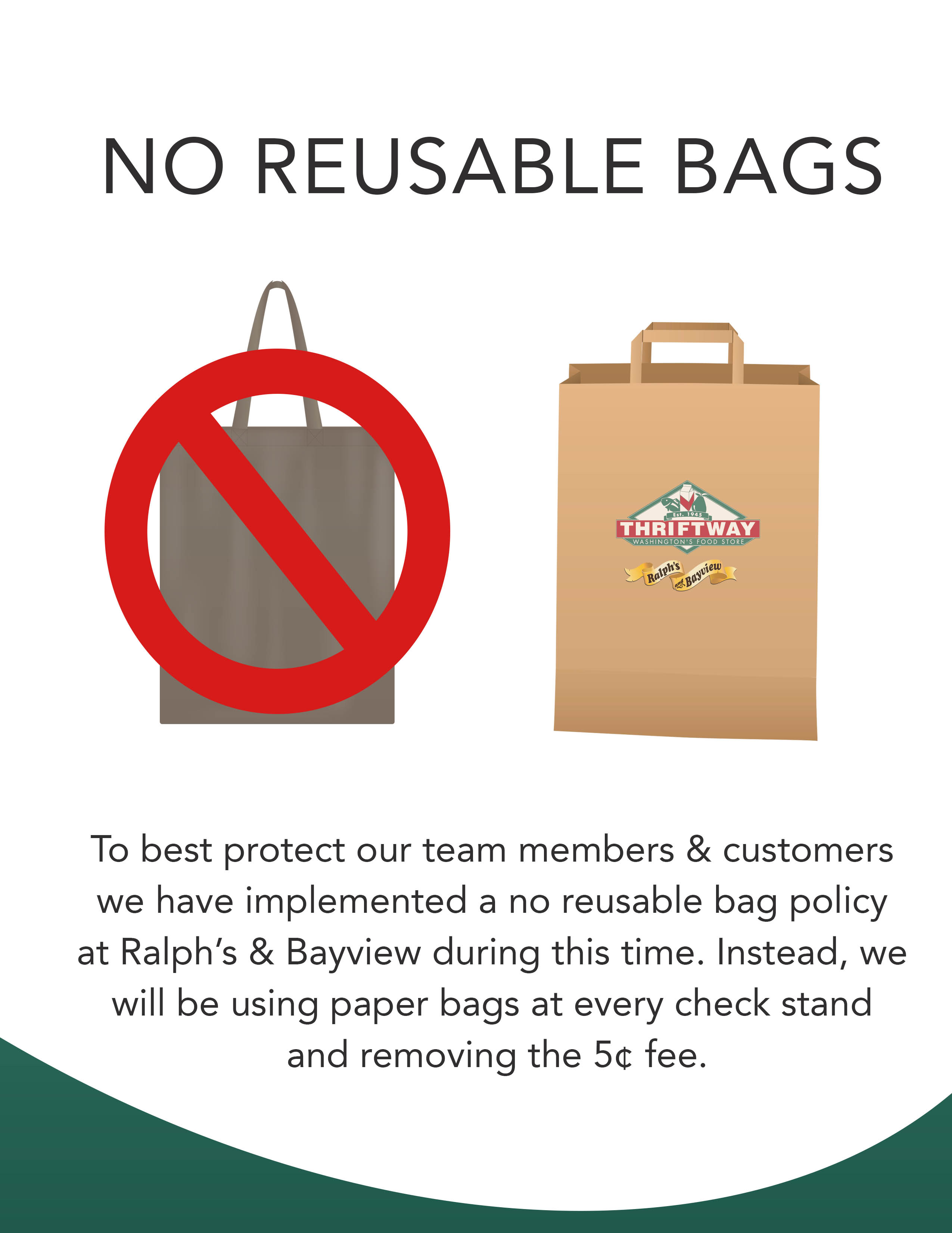 NO REUSABLE BAGS: To best protect our team members & customers we have implemented a no reusable bag policy at Ralph's & Bayview during this time. Instead, we will be using paper bags at every check stand and removing the 5¢ fee.