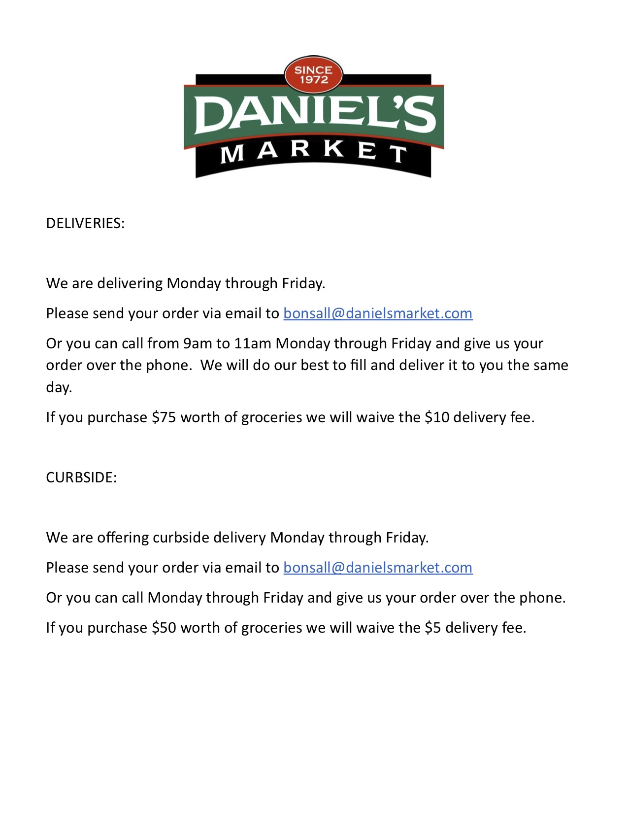 DELIVERIES:
