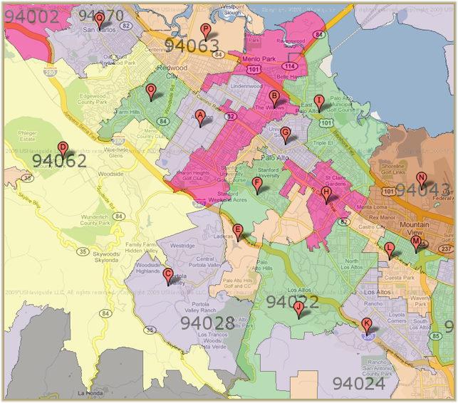 Palo Alto Zip Code Map | Zip Code MAP