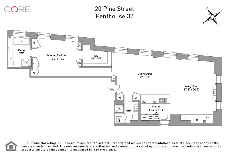20 Pine St. PH32, New York, NY 10005