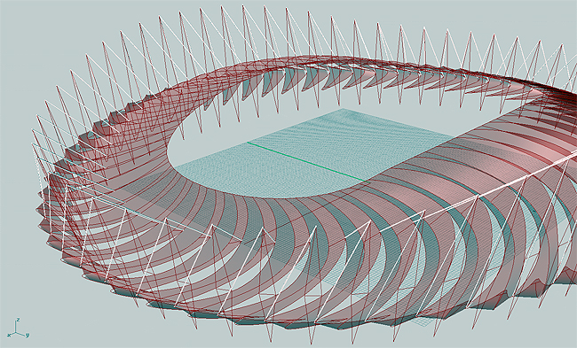 Grasshopper-designed roof of the Al Menna Sports Complex in Iraq.