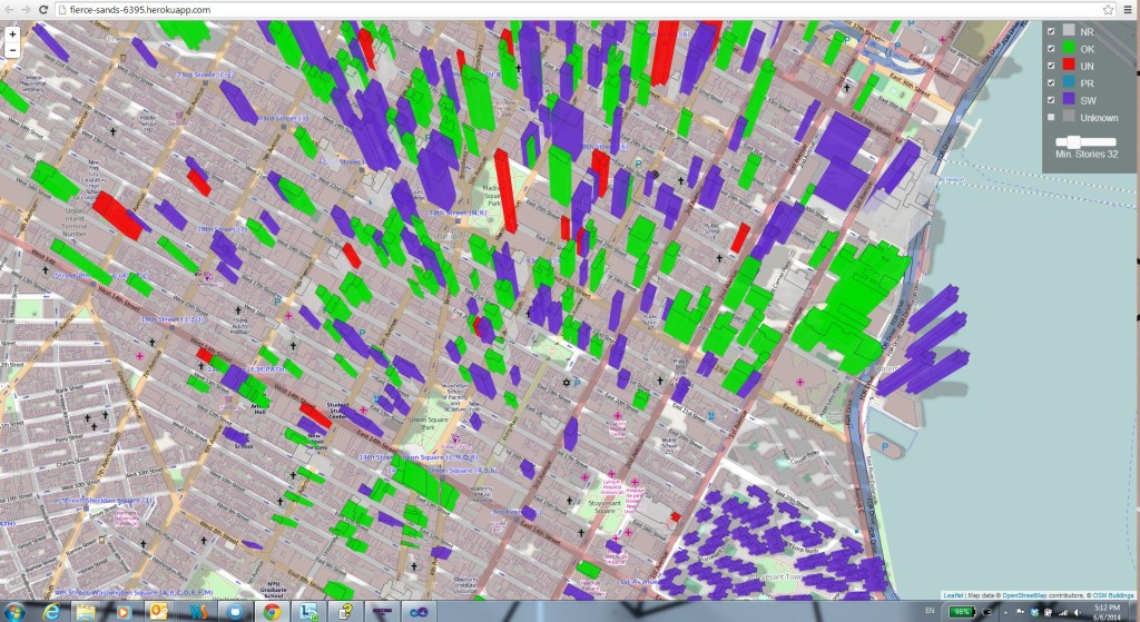 interactive map highlighting LL11 state of buildings in Manhattan