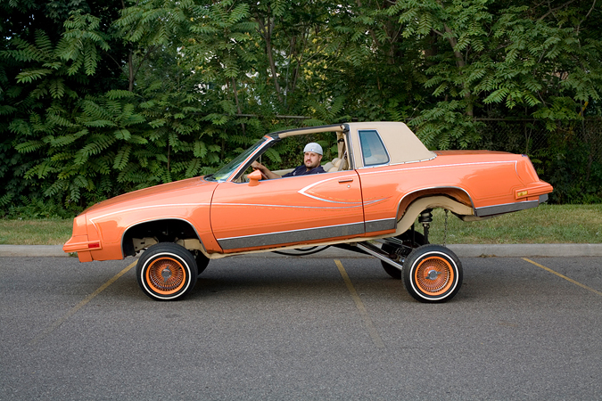Salvador 'Chavo' and his radical hopper, a '83 Cutlass Supreme, 2008