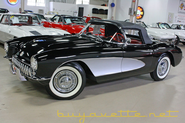 1957 corvette convertible for sale black exterior with silver coves red vinyl interior black convertible top numbers matching 270hp 283ci engine 4 speed manual transmission