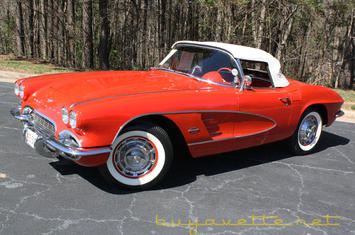 1961 corvette convertible for sale roman red exterior red vinyl interior white convertible top nom 327ci engine 4 speed manual transmission