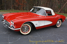 1961 corvette convertible for sale roman red exterior with white coves black interior white convertible top numbers matching 230hp 283ci engine 4 speed manual transmission