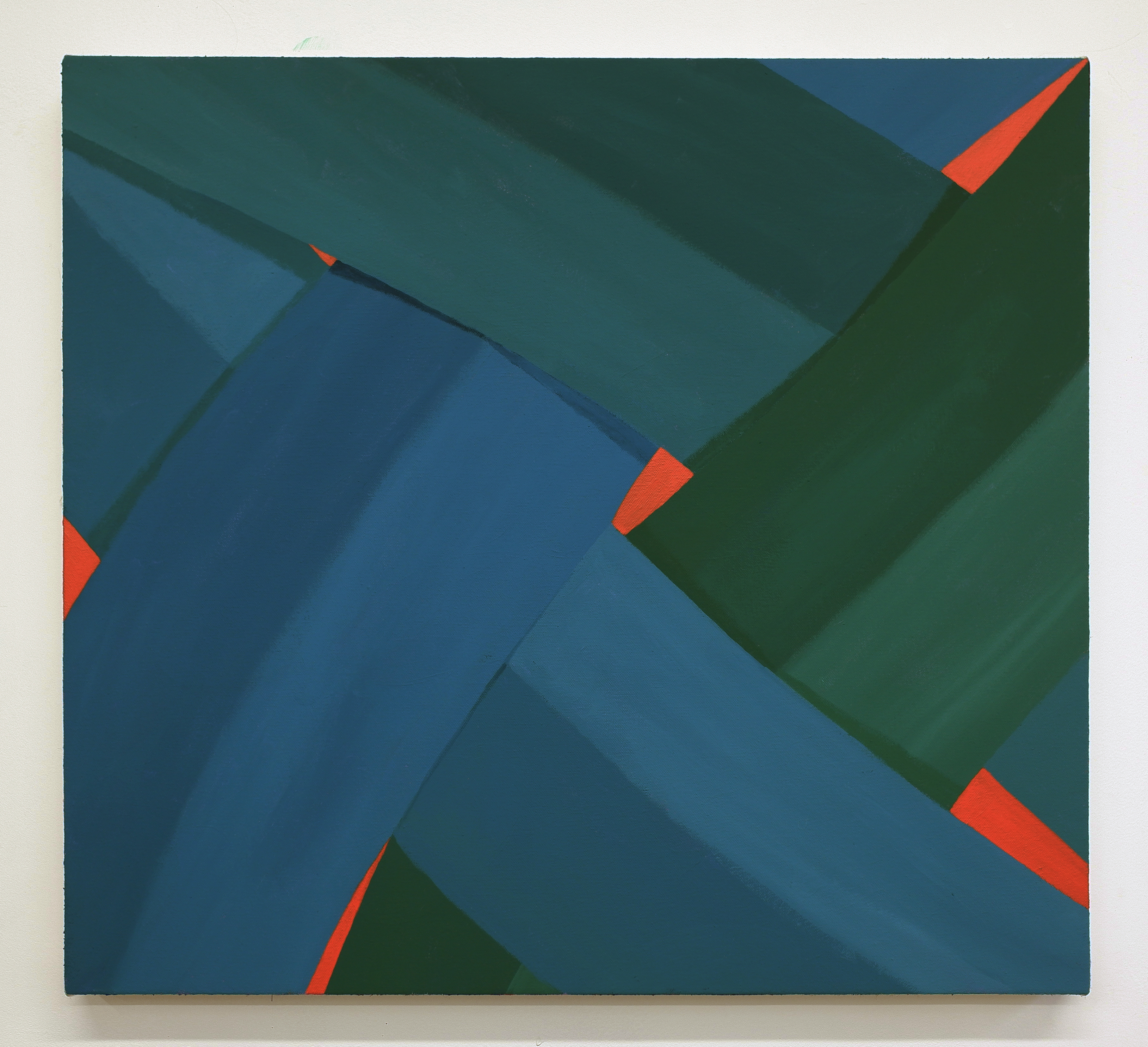 Corydon Cowansage, Blue, Green, Red, 2019, acrylic and vinyl paint on canvas, 20 x 22 inches